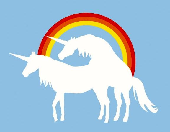 Rainbow unicorn anal in public